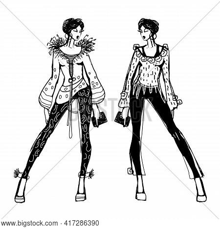 Sketch Of A Young Beautiful Girl With Fashionable Pants And A Blouse. Fashionable Clothes For Formal
