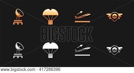 Set Radar, Box Flying On Parachute, Plane Takeoff And Aviation Emblem Icon. Vector