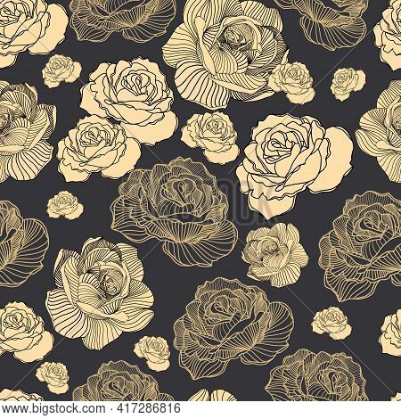 Abstract Elegance Seamless Floral Pattern. Beautiful Flowers Vector Illustration Texture With Roses