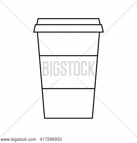 Take Away Coffee Cup Vector Icon. Outline Sign Coffee To Go. Disposable Plastic Cup, Fast Food. Clas