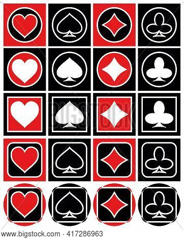 Set Of Playing Card Icons Diamonds Clubs Hearts Spades Vector Graphics