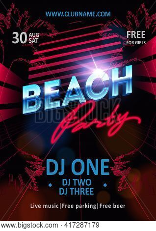 Beautiful Poster For Summer Beach Party. Night Club Show Poster Template