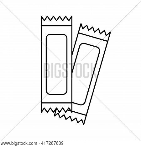 Sachet Outline Icon. Packet Soluble Powder Symbol. Cosmetic Sample. Packet Of Sugar, Coffee, Salt, S