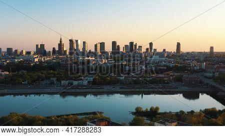 Warsaw, Poland 12.01.2020 - Breathtaking Warsaw Cityscape. Skyscrapers Across The Vistula River In M
