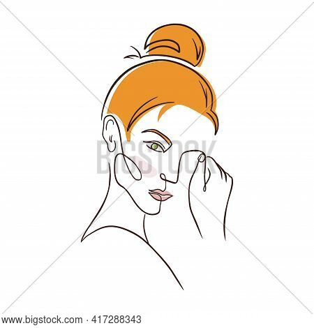 One Line Red Hair Woman. Continuous Line Drawing Woman Portrait For Logo, Emblem Template. One Line