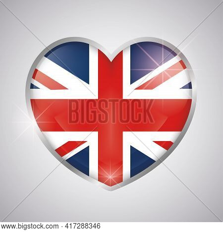 Isolated Heart Shape With The Uk Flag - Vector Illustration