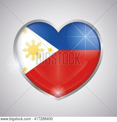 Isolated Heart Shape With The Flag Of Philippines - Vector Illustration