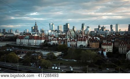 Aerial View Of Warsaw Current Urban Landscape On Bank Of Vistula During Sunset. High Quality Photo