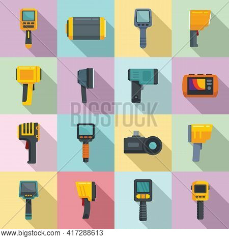Thermal Imager Icons Set. Flat Set Of Thermal Imager Vector Icons For Web Design