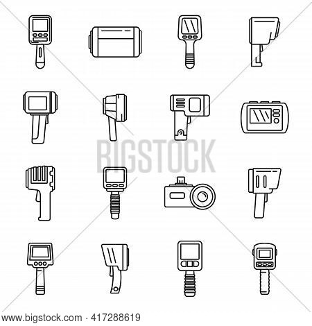 Thermal Imager Device Icons Set. Outline Set Of Thermal Imager Device Vector Icons For Web Design Is