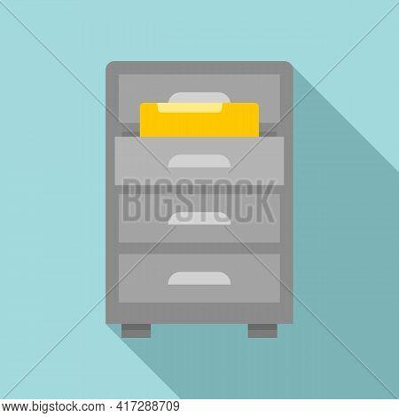 Drawer Folder Documents Icon. Flat Illustration Of Drawer Folder Documents Vector Icon For Web Desig