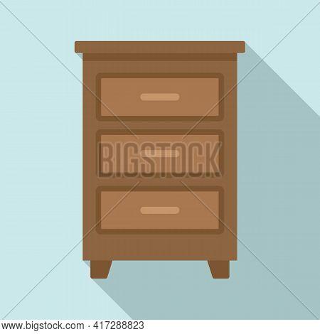 Wood Documents Drawer Icon. Flat Illustration Of Wood Documents Drawer Vector Icon For Web Design
