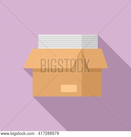 Full Documents Box Icon. Flat Illustration Of Full Documents Box Vector Icon For Web Design