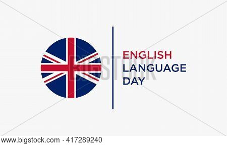English Language Day. Circle Flag English. Vector Illustration.