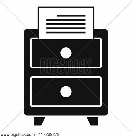Office Documents Drawer Icon. Simple Illustration Of Office Documents Drawer Vector Icon For Web Des