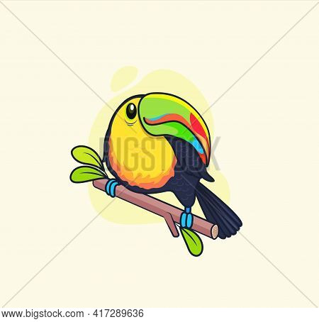 Funny Colorful Toucan Sitting On Branch.bird For Design Birthday Cards, Zoo Ad, Fashion Print, Stick