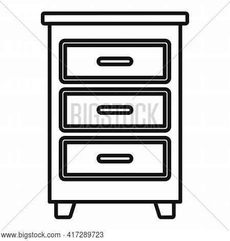 Wood Documents Drawer Icon. Outline Wood Documents Drawer Vector Icon For Web Design Isolated On Whi