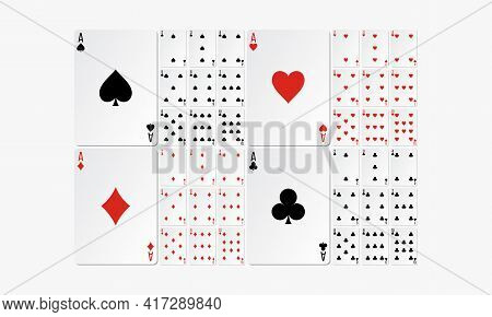 Suit Deck Playing Cards. Card Game Set. Vector Illustration.