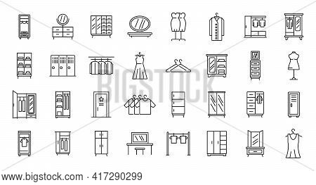 Dressing Room Icons Set. Outline Set Of Dressing Room Vector Icons For Web Design Isolated On White