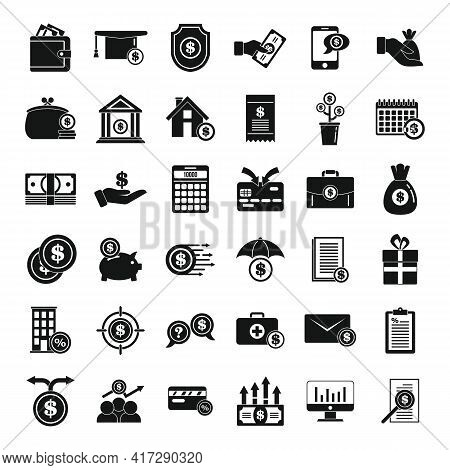 Subsidy Icons Set. Simple Set Of Subsidy Vector Icons For Web Design On White Background