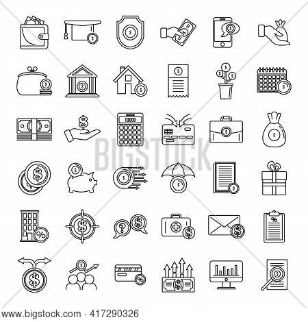 New Subsidy Icons Set. Outline Set Of New Subsidy Vector Icons For Web Design Isolated On White Back