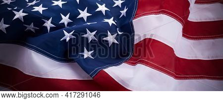 Waving Star And Striped American Flag Banner