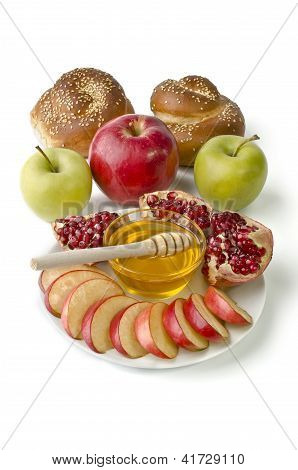 Still life - challah apples pomegranate and bowl of honey over white. Illustration of Rosh Hashanah (Rosh Hasanah) (jewish new year) or Savior of the Apple Feast Day poster