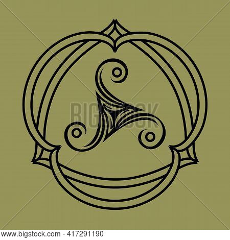 Pagan Celtic Symbol Triskele In Knotted Frame, Tattoo Or Print Design