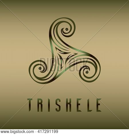 Pagan Celtic Pagan Druid Symbol Triskele And Text On Blur Background