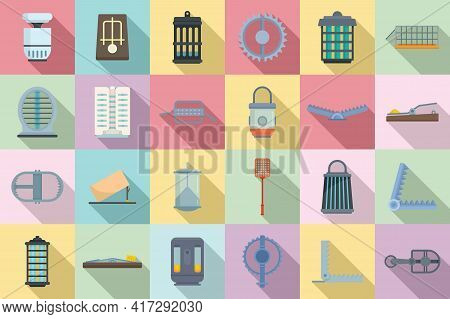 Animal Trap Icons Set. Flat Set Of Animal Trap Vector Icons For Web Design