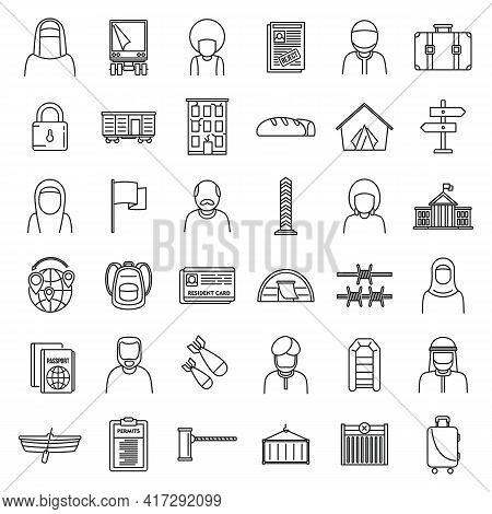 Africa Illegal Immigrants Icons Set. Outline Set Of Africa Illegal Immigrants Vector Icons For Web D