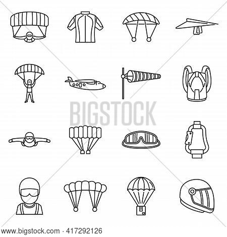 Fly Parachuting Icons Set. Outline Set Of Fly Parachuting Vector Icons For Web Design Isolated On Wh