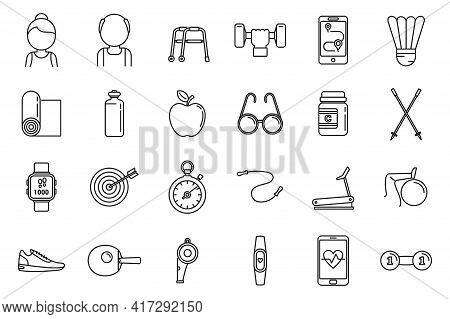 Workout Seniors Activity Icons Set. Outline Set Of Workout Seniors Activity Vector Icons For Web Des