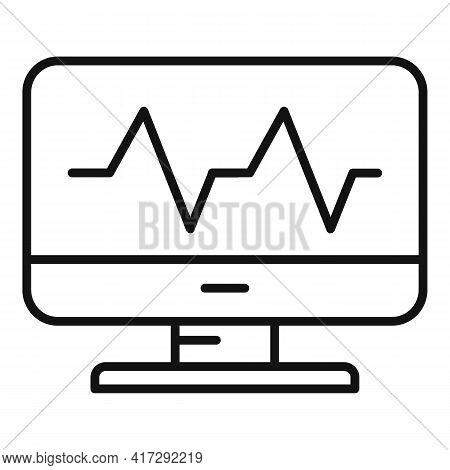 Monitor Heartbeat Icon. Outline Monitor Heartbeat Vector Icon For Web Design Isolated On White Backg