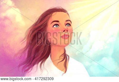 Multicolor Light Illustration Of A Portrait Of A Girl On The Sky Won. A Symbol Of Hope, Freedom, Spi