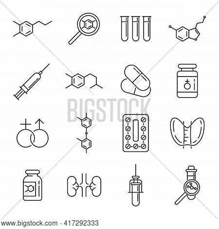 Hormones Icons Set. Outline Set Of Hormones Vector Icons For Web Design Isolated On White Background