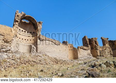 Remains Of Powerful Walls & Towers Of Medieval City Ani, Near Kars, Turkey. City Founded In 5 Centur