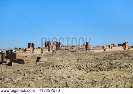 Panoramic View Onto Ruins Of Medieval Ghost City Ani, Near Kars, Turkey. There Are Ruins Of Walls, T
