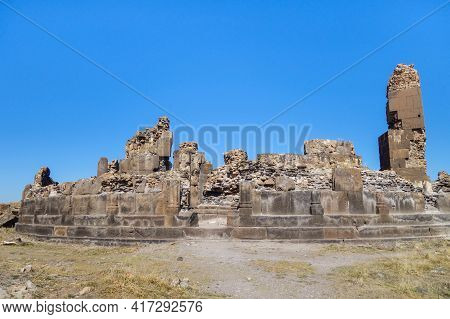 Front View Onto Remains Of King Gagik's Church Of St Gregory In Medieval City Ani, Near Kars, Turkey