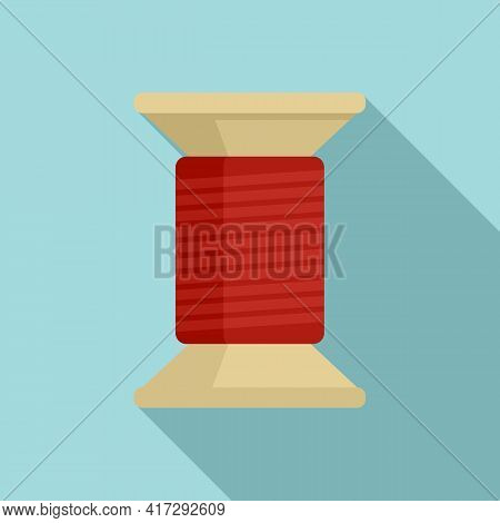 Thread Wood Bobine Icon. Flat Illustration Of Thread Wood Bobine Vector Icon For Web Design