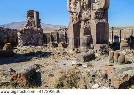 Remains Of Columns, Walls & Decorative Elements Inside Church Of St Gregory In Medieval Ghost Town A