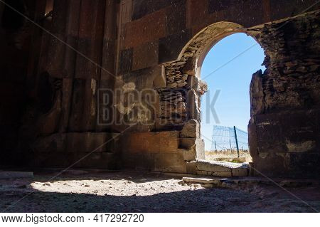 Eastern Gates Of Cathedral Church In Medieval City Ani, Near Kars, Turkey. There Are Shown Interiors