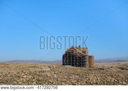 Panoramic View Onto Restoring Building Of Ani's Cathedral, Medieval City Ani, Near Kars, Turkey. Bui