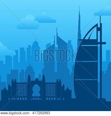 Dubai, Uae Famous City Scape View Background.