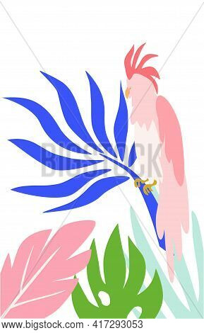 Cockatoo Parrot In Tropical Leaves. Vector Parrot In Hand Draw Style Isolated On White Background.