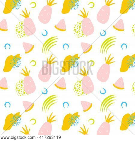 Tropical Seamless Pattern With Pink Pineapples, Pineapple Slices And Abstract Shapes. Vector Illustr