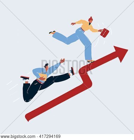 Vector Illustration Of Rising Finance Graph And People Run Up. Man And Woman Compete In Finance On W