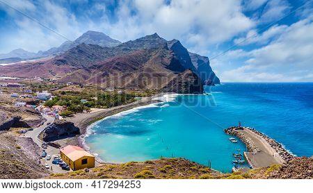 Amazing Landscape With La Aldea De San Nicolas Village, Gran Canaria, Spain