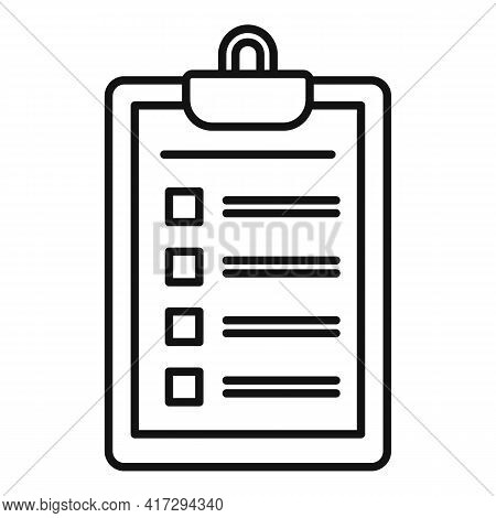 Personal Trainer Clipboard Icon. Outline Personal Trainer Clipboard Vector Icon For Web Design Isola