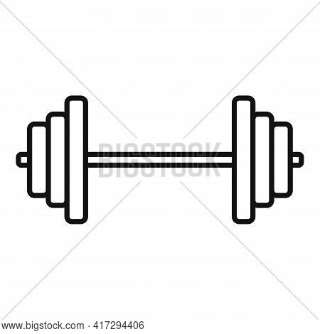 Steel Barbell Icon. Outline Steel Barbell Vector Icon For Web Design Isolated On White Background